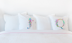 Floral Watercolor Monogram Letter Q Pillowcase