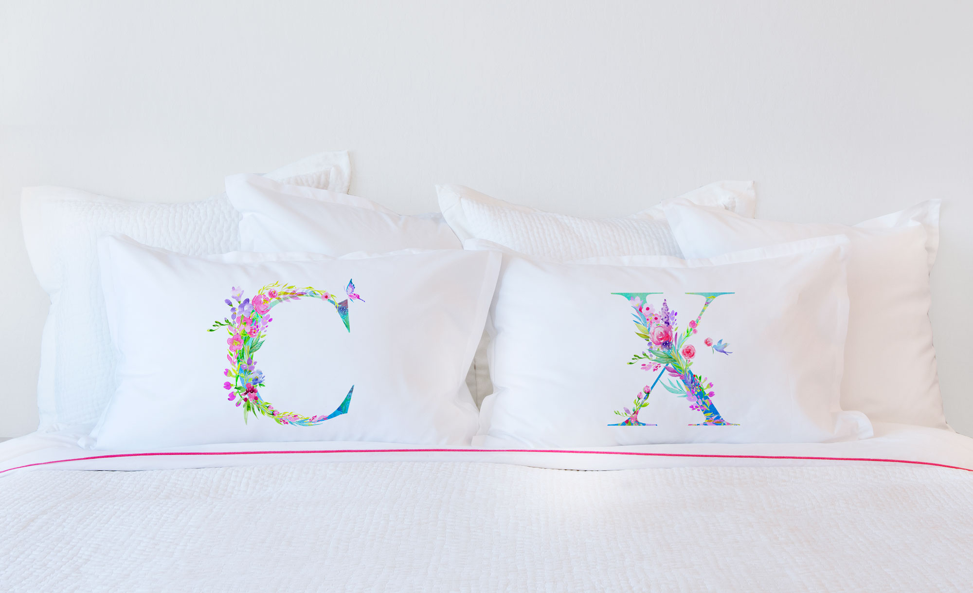 Floral Watercolor Monogram Letter C Pillowcase