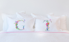 Floral Watercolor Monogram Letter T Pillowcase