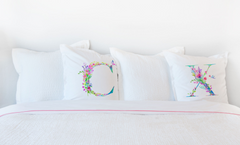 Floral Watercolor Monogram Letter X Pillowcase