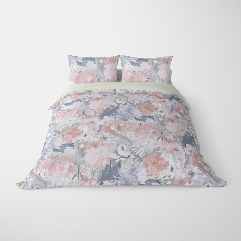 FLORAL DUVET COVERS & BEDDING SETS PRINTEMPS GREY PEACH - FLOWER DESIGN - HYPOALLERGENIC