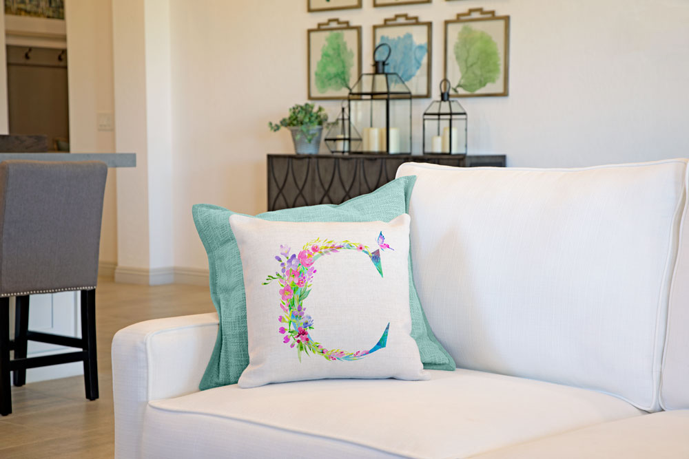 Floral Watercolor Monogram Letter C Throw Pillow Cover