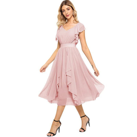 Alexia Elegant Ruffle Hem Dress - Pink-August Bee
