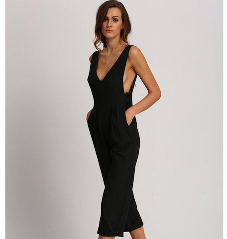 Alexis Plunging V-Neckline Jumpsuit-August Bee