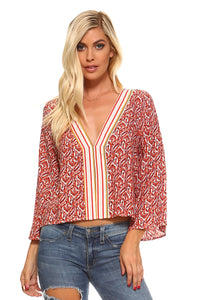Angela Striped V-Neck Bell Sleeve Top-August Bee
