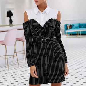 Ashlyn Striped Mini Dress-August Bee