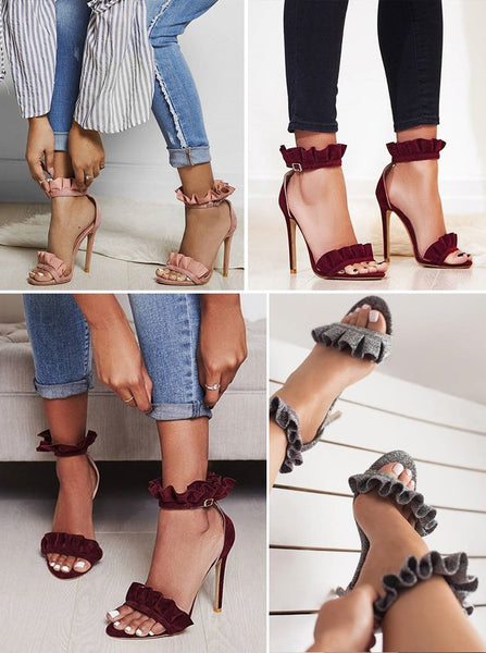 Aubriana Ruffle Solid Sandals-August Bee