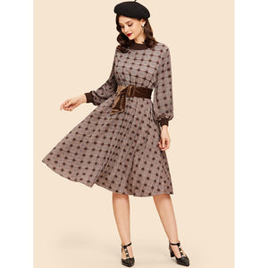 Bishop Sleeve Plaid Dress-August Bee