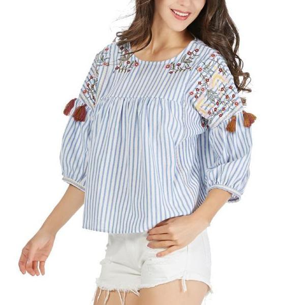 Carla Embroidery Striped Blouse-August Bee