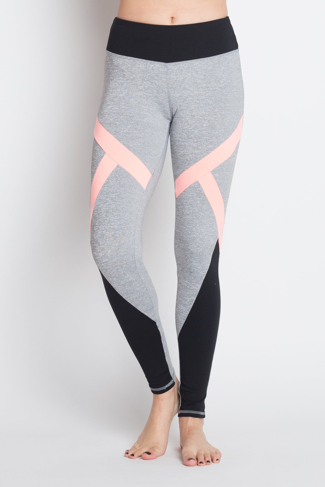 Contrast Color Panel Yoga Legging-August Bee