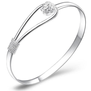 Crystal Rose Silver Bangle-August Bee