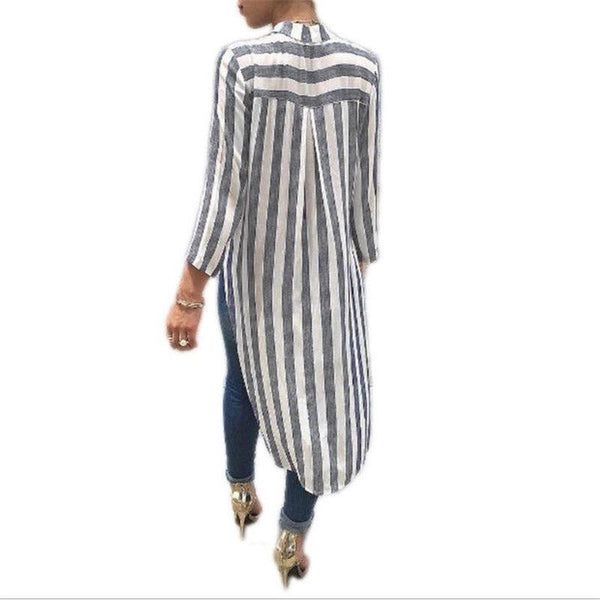 Daisy Striped Long Back Shirt-August Bee