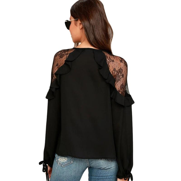 Debra Lace Shoulder Blouse-August Bee