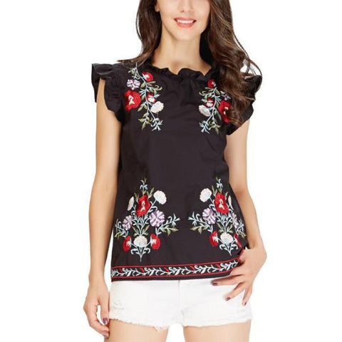 Dina Floral embroidery Top-August Bee