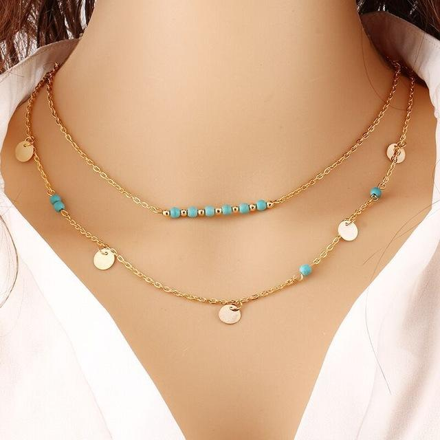 Double Chain Necklace-August Bee