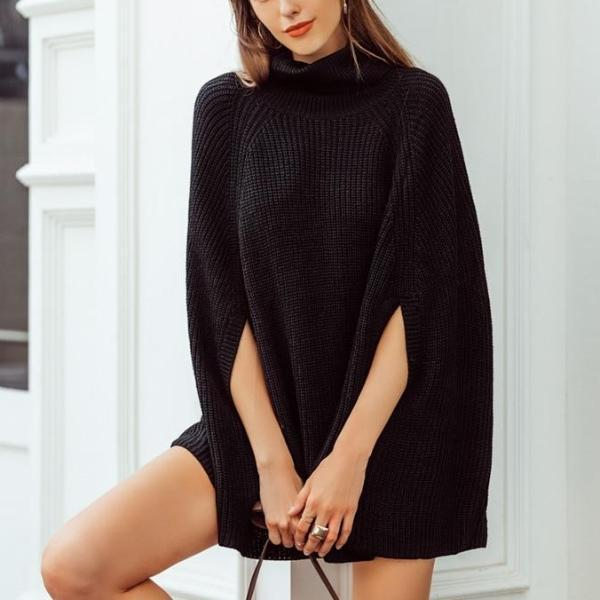 Elise Knitted Turtleneck Cloak Sweater-August Bee