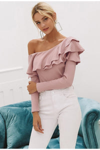 Felecia One Shoulder Ruffles Blouse-August Bee