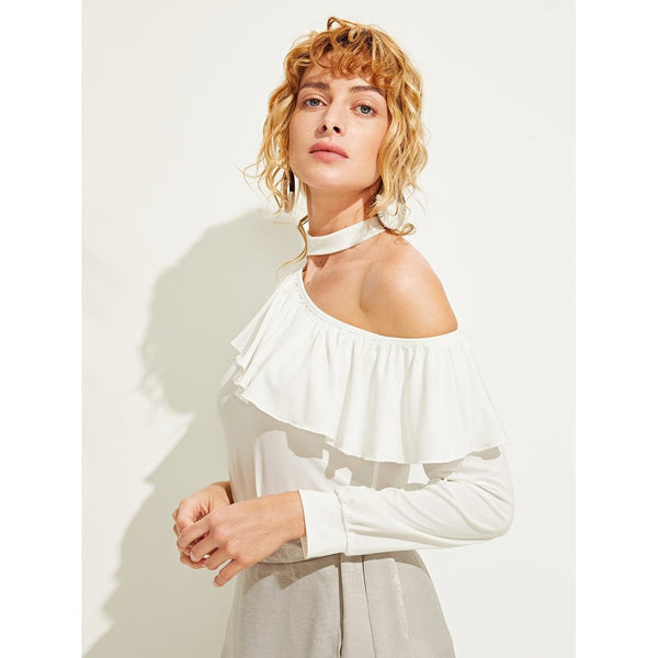 Flounce Asymmetric Neck Top-August Bee