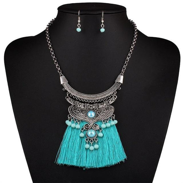 Frill Tassel Necklace Set-August Bee