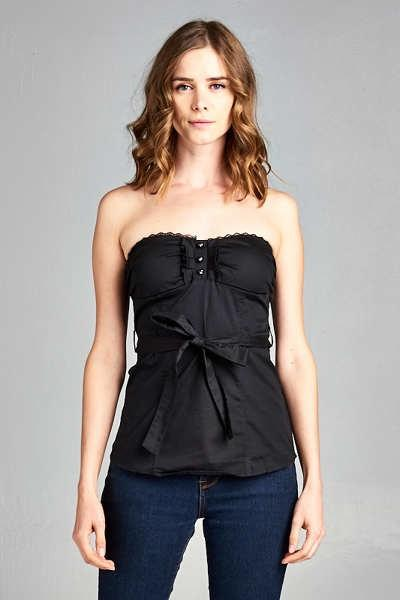 Gaby Strapless Top - Black-August Bee