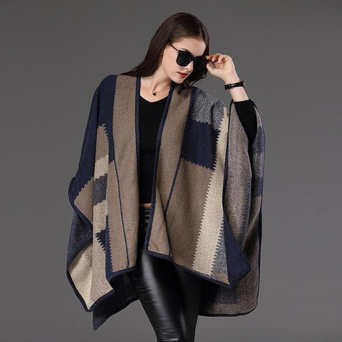 Haven Striped Split Poncho-August Bee