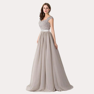 Illusion Back Lace Prom Dress-August Bee