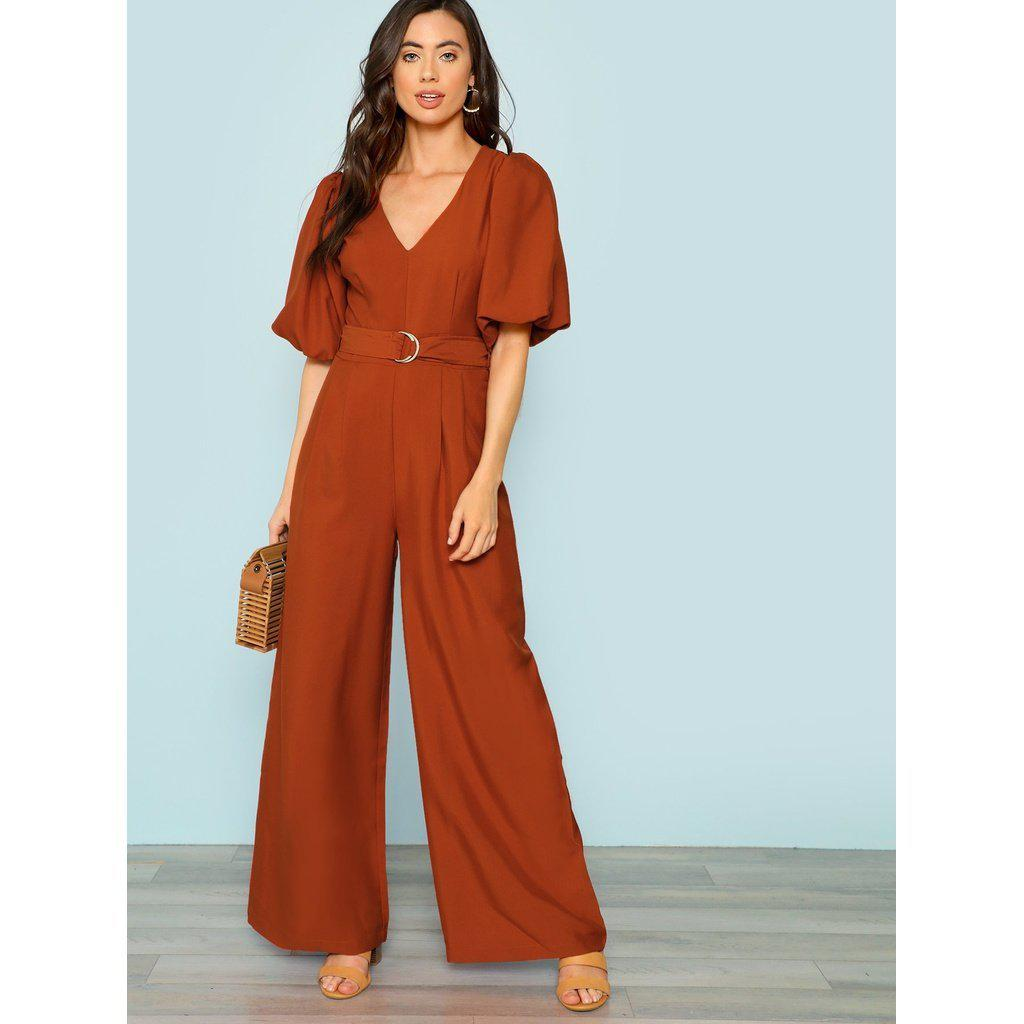Jasmine Belted Puff Sleeve Jumpsuit-August Bee