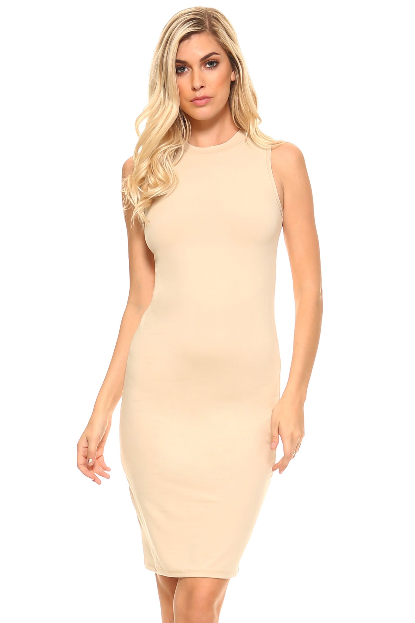 Jennifer High Neck Sleeveless Dress-August Bee