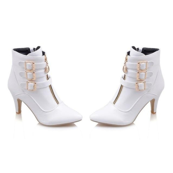 Karis Buckled Ankle Boots-August Bee