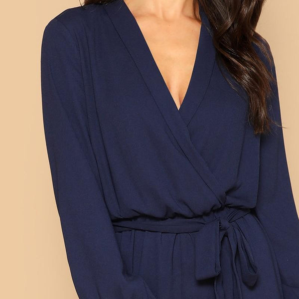 Lana Surplice Wrap Belted Jumpsuit-August Bee