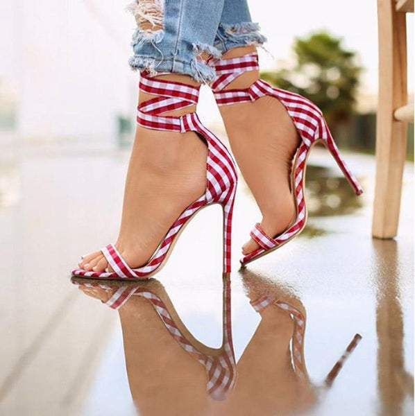 Lavinia Plaid Heeled Sandals-August Bee