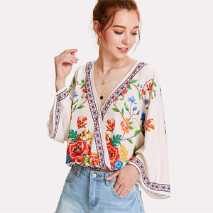 Lavinia Surplice Floral Top-August Bee