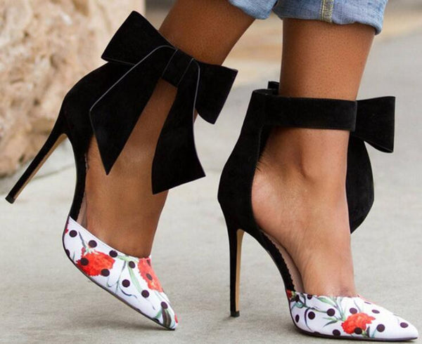 Leah Velvet Ankle Bow Pumps-August Bee