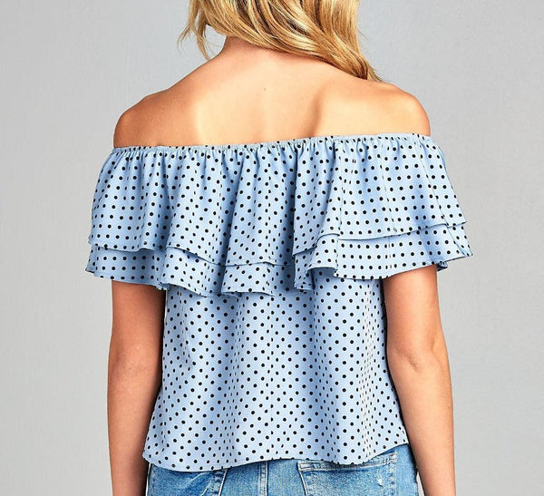 Leslie Double Ruffle Polka Dot Top-August Bee
