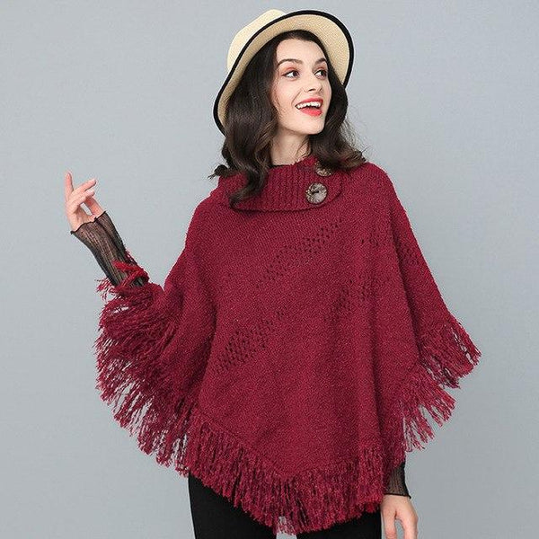 Marisa Tassel Hollow Out Poncho-August Bee