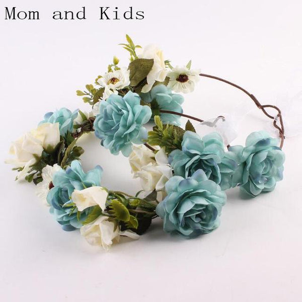 Mommy and Me Flower Headband - Blue-August Bee