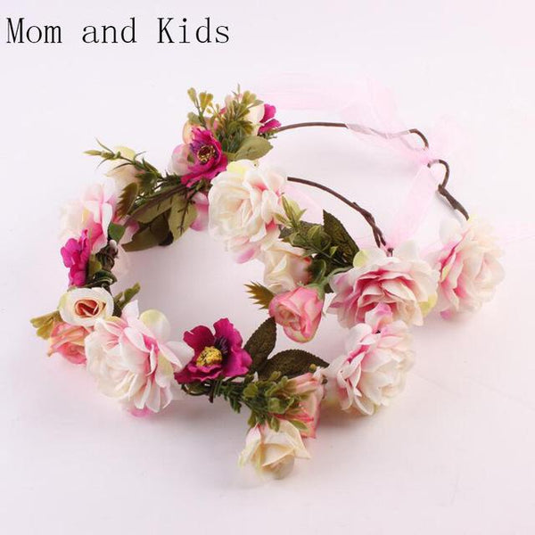 Mommy and Me Flower Headband - Pink-August Bee