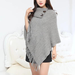 Naomi Turn-Down Collar Poncho-August Bee