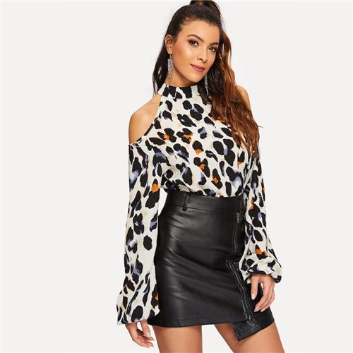 Nina Leopard Print Blouse-August Bee