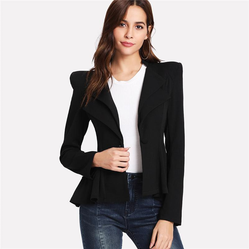 Notched Collar Long Sleeve Blazer-August Bee