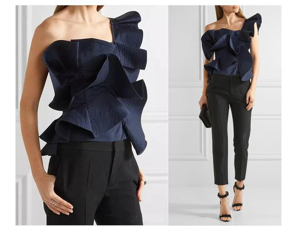 One shoulder Butterfly Ruffle Blouse-August Bee