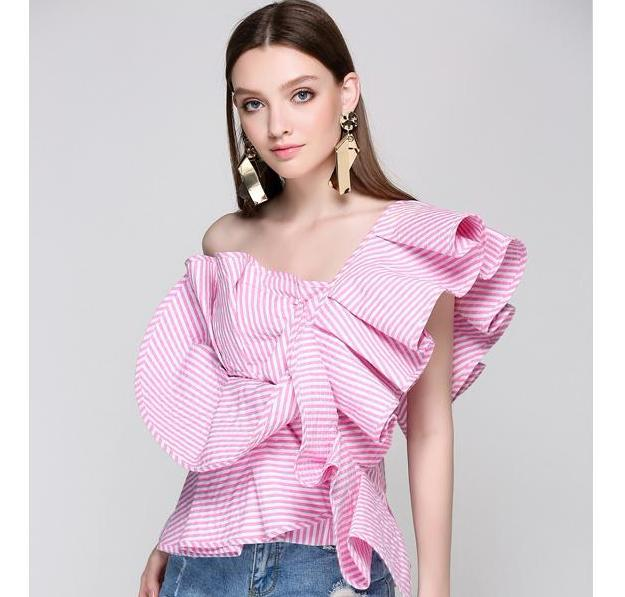 666b455900c One shoulder Butterfly Ruffle Blouse-August Bee ...