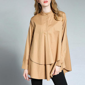 Poncho Loose Layered Blouse-August Bee