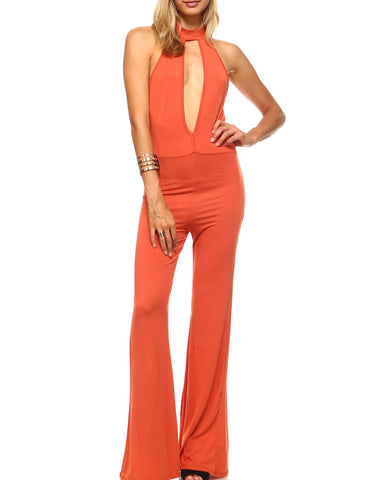 Roxanne Key Hole Bell Bottom Jumpsuit-August Bee