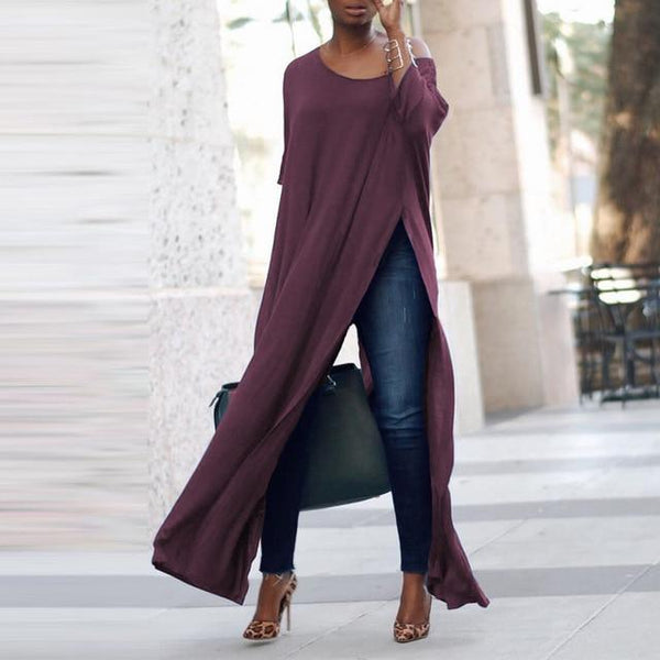 Roxanne Off Shoulder Split Vestido-August Bee