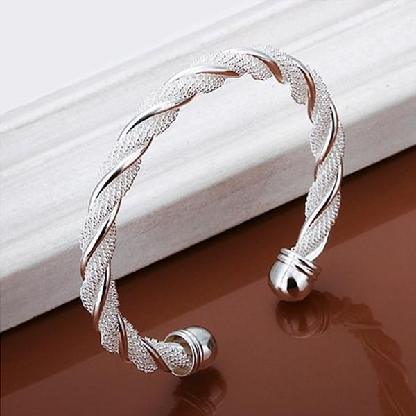 Silver Braided Cuff Bangle-August Bee