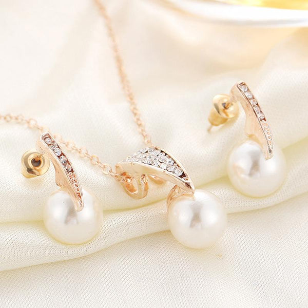 Simulated Pearl Jewelry Set-August Bee