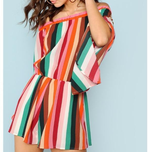 Striped Flared Sleeve Romper-August Bee