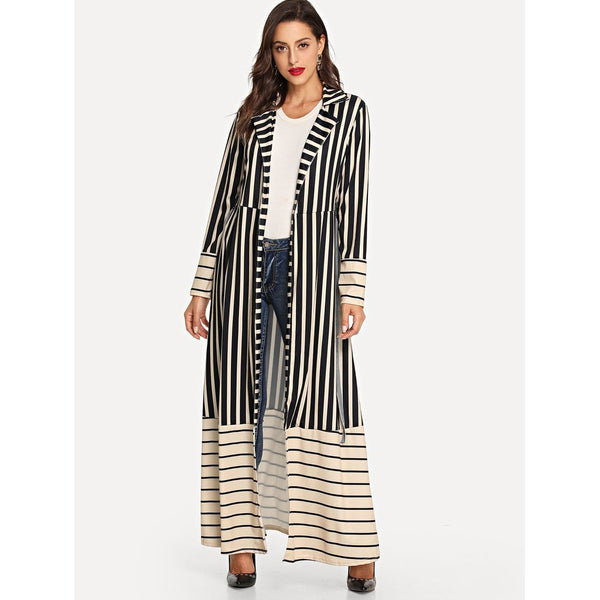 Striped Self Tie Waist Outerwear-August Bee