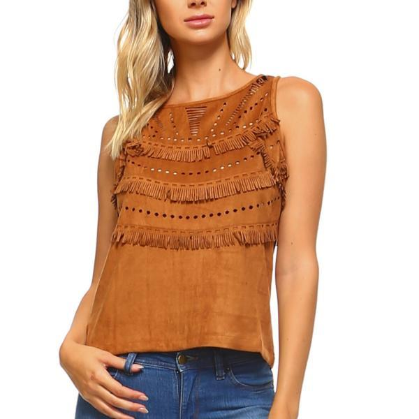 Suede Fringe Laser Cut Top-August Bee